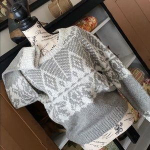 Line Crewneck Sweater Heather Grey Pattern Sweater